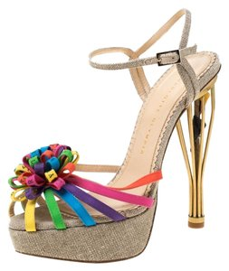 Charlotte Olympia Satin Platform Strappy Multicolor Sandals