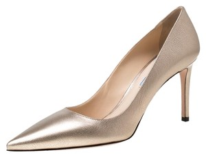 Prada Metallic Leather Pointed Toe Gold Pumps