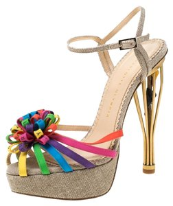 Charlotte Olympia Satin Platform Multicolor Sandals