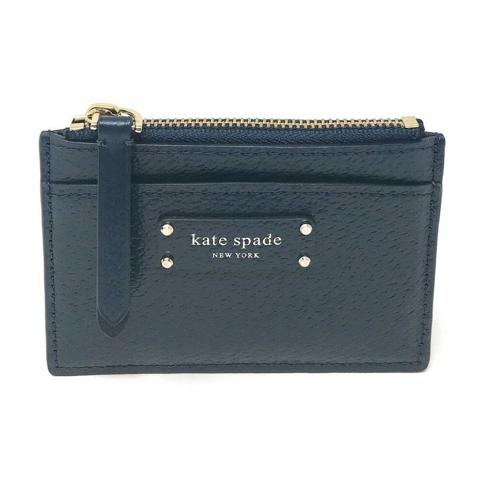 kate spade card holder  Kate Spade Petrol Blue Small Zip Card Holder Jeanne Leather Wallet 5% off  retail
