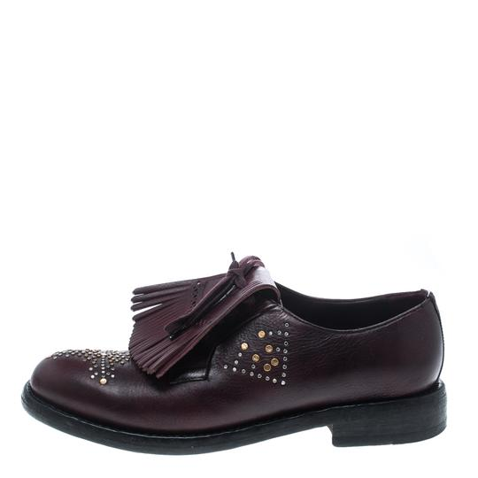 Burberry Studded Leather Detail Burgundy Flats Image 1