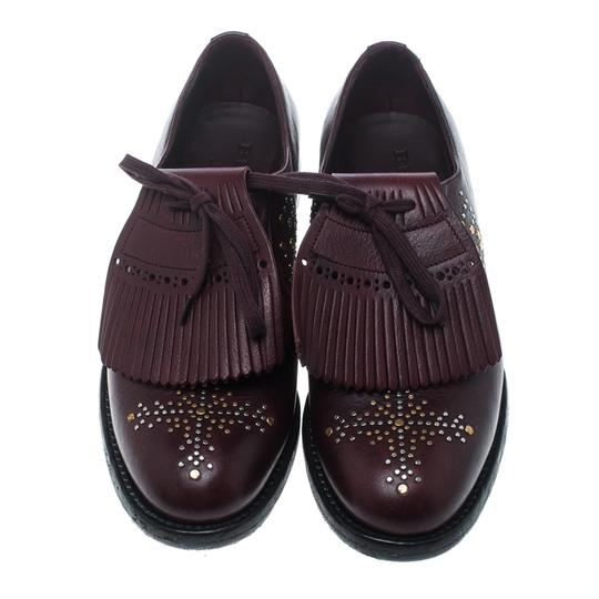 Burberry Studded Leather Detail Burgundy Flats Image 2