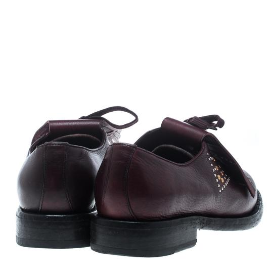 Burberry Studded Leather Detail Burgundy Flats Image 3