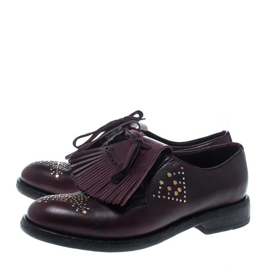 Burberry Studded Leather Detail Burgundy Flats Image 4