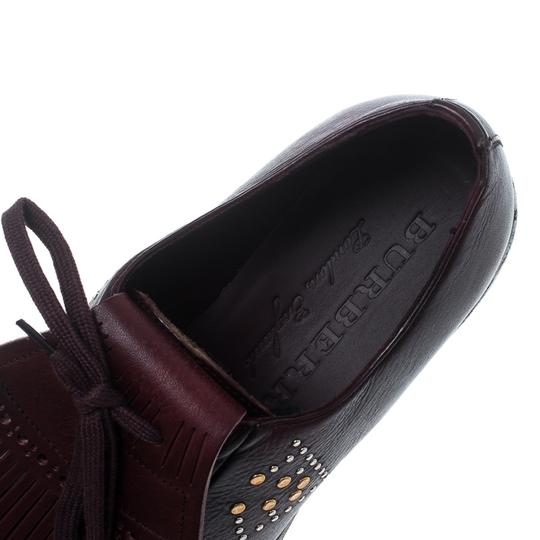 Burberry Studded Leather Detail Burgundy Flats Image 5