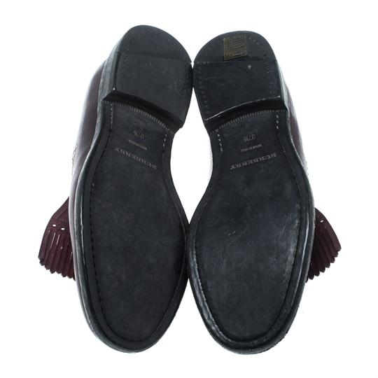 Burberry Studded Leather Detail Burgundy Flats Image 6