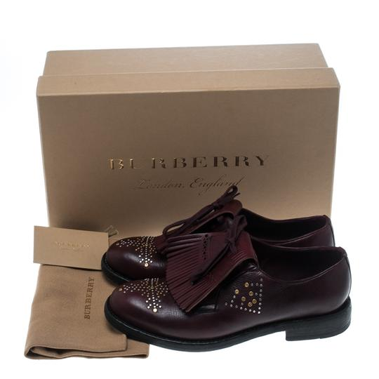 Burberry Studded Leather Detail Burgundy Flats Image 7
