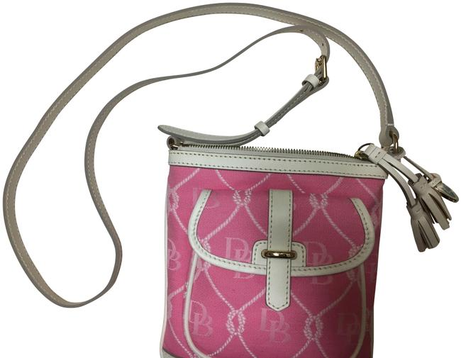 Item - Fabric/Leather Pink/White Fabric/Leather Type Trim Cross Body Bag