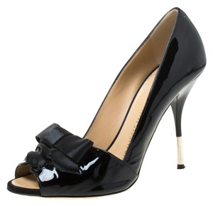 Giuseppe Zanotti Satin Patent Leather Peep Toe Black Pumps