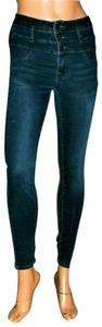 Refuge Jeans High Waisted Button Skinny Jeans-Dark Rinse