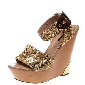 Louis Vuitton Sequin Embellished Ankle Wedge Gold Sandals
