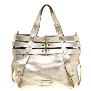 Versace Fabric Leather Tote in Gold