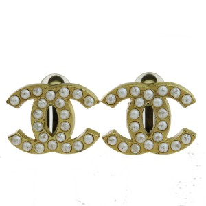 Chanel Gold Cc Imitation Pearl Gold-tone 01a France Earrings
