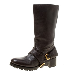 Prada Leather Detail Brown Boots