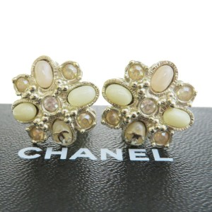 Chanel Gold Rhinestone Color Stone Clip-on A13c Earrings