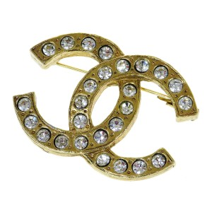 Chanel Gold Cc Logo Rhinestone Gold-tone Brooch/Pin