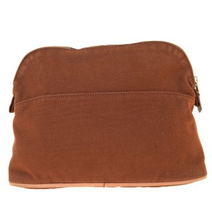 Hermès HERMES H Logos Bolide MM Pouch Bag Cotton Leather Brown France