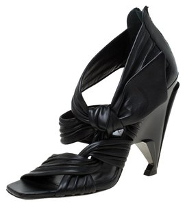 Jimmy Choo Pleated Leather Black Sandals