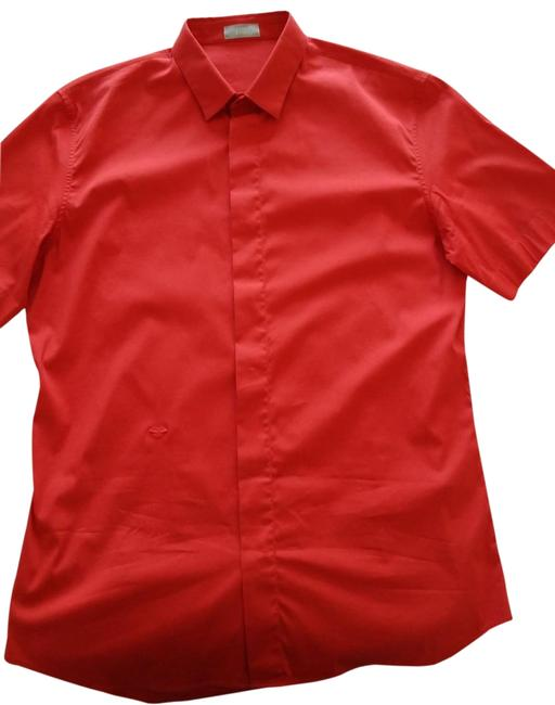 Item - Red Men's Shirt Button-down Top Size 4 (S)