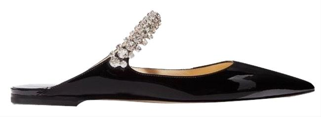 Item - Black Bing Crystal Embellished Patent Leather Mules Flats Size EU 40 (Approx. US 10) Regular (M, B)