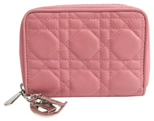 Dior Christian Dior Cannage/Lady Dior SO124PCAL Lambskin Wallet (bi-fold) Pink