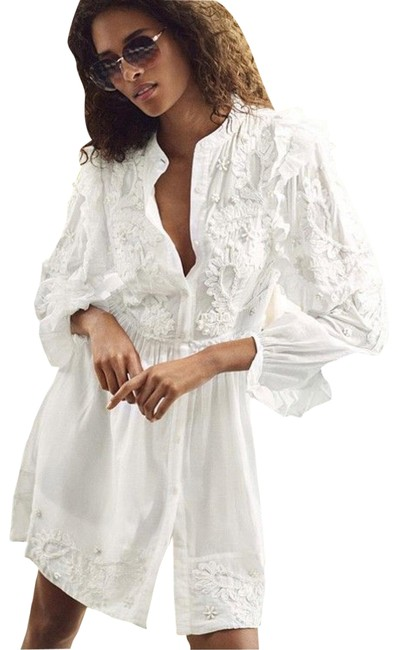 Item - White Embroidered Cotton Shirtdress Short Casual Dress Size 4 (S)