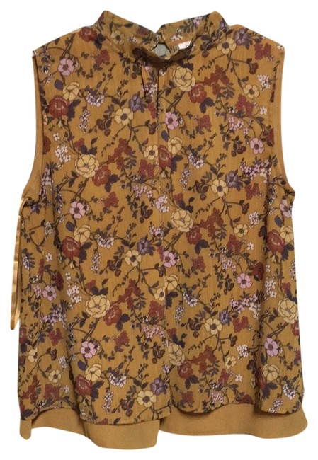 Item - Yellow Floral Pattern Anthropologie Swing Blouse Size 10 (M)