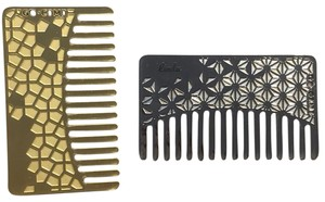 Go-Comb Brass Tile Mirror & Silver Floral Pattern combs