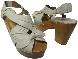 Anthropologie Missalbright Sandals Leather ivory/gray Mules
