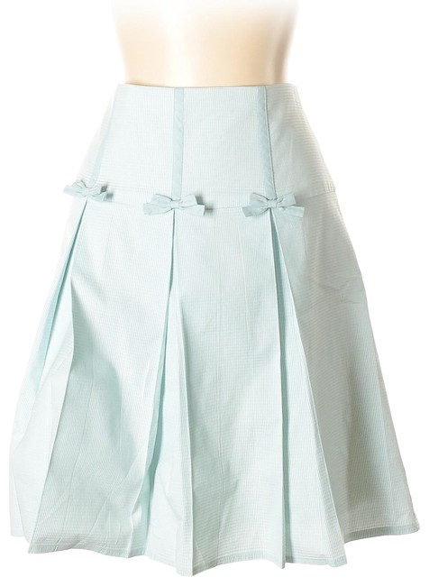 Item - Blue Pleated 3 Bow Yok Textured Skirt Size 8 (M, 29, 30)