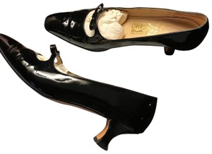 Salvatore Ferragamo Vintage Leather Black Patent Pumps