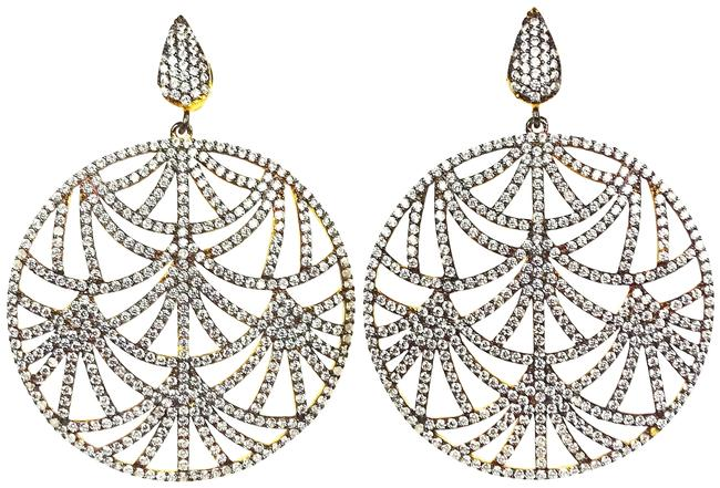 Item - Silver Sterling Gold Plated Cubic Zirconia Statement Earrings