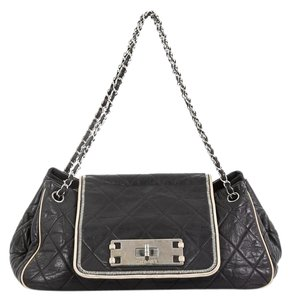 Chanel East West Flap Lambskin Shoulder Bag