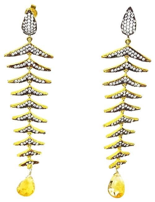 Item - Multi-color Sterling Silver Gold & Black Rhodium Plated Citrine Cz Pave Earrings