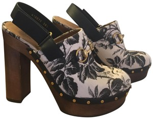 Gucci Black and White Floral Print Mules