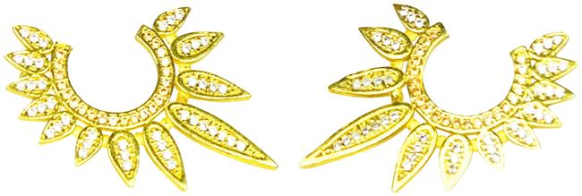 Item - Gold Sterling Silver Plated Cubic Zirconia Pave Hoop Earrings