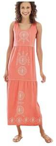 Coral Maxi Dress by J. Jill Sleeveless Scoop Neck Embroidered Tiered Sequin