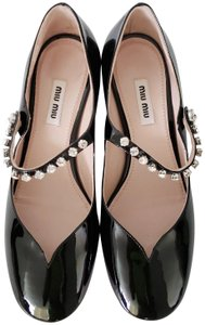 Miu Miu Patent Leather Crystal Embellished Black Pumps