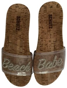 SCHUTZ Clear/brown - silver beaded writing Sandals