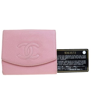 Chanel Authentic CHANEL CC Long Bifold Wallet Purse Caviar Skin Leather Pink