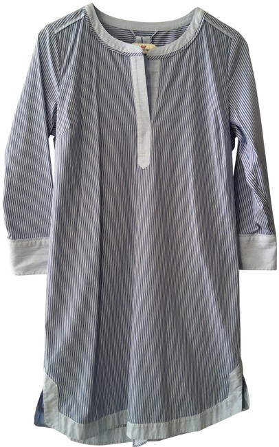 Item - Light Blue White Striped Tunic Mid-length Short Casual Dress Size 8 (M)