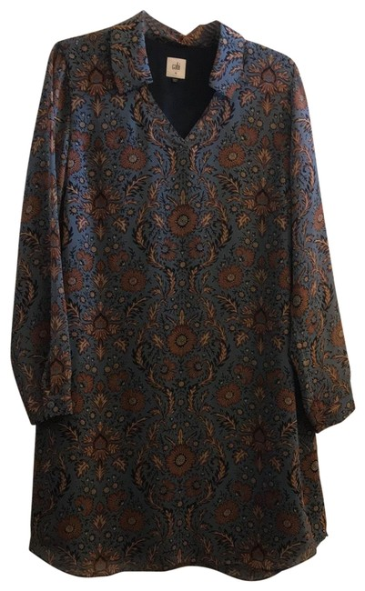 Item - Blue and Brown Long Sleve Short Casual Dress Size 10 (M)