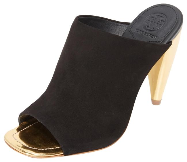 Item - Black Suede with Gold Heel Ellis Mules/Slides Size US 7.5 Regular (M, B)