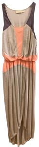 tan with purple/grey and orange accent panels Maxi Dress by Anthropologie