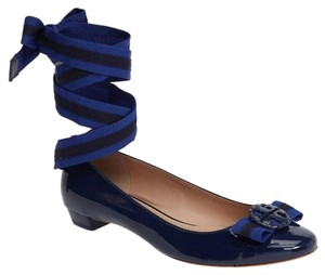 Tory Burch Nautical Patent Leather Navy Sea / Paradise Blue Flats