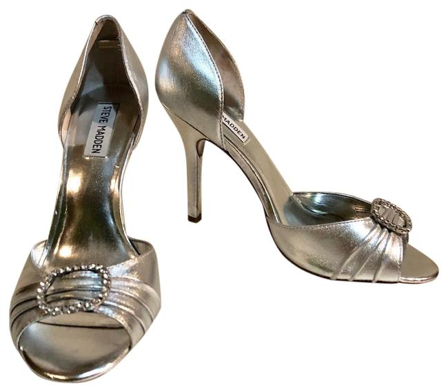 Item - Silver Crystal Buckle Leather Pump M Formal Shoes Size US 8.5 Regular (M, B)