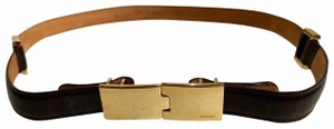 """Gucci GUCCI GOLD TONE BUCKLE CHOCO LEATHER BELT LENGTH 34"""""""
