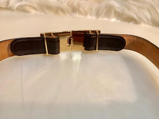 Gucci GUCCI GOLD TONE BUCKLE CHOCO LEATHER BELT LENGTH 34