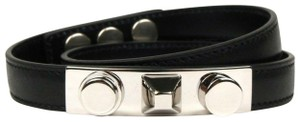 Saint Laurent Black Leather Studded Wrap Around Bracelet M 420121 1000