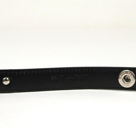 Saint Laurent Black Leather Studded Wrap Around Bracelet M 420121 1000 Image 2